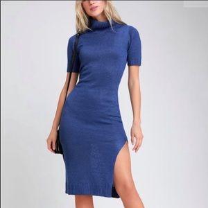 NWT Lulus Coffee Date Royal Blue Sweater Dress